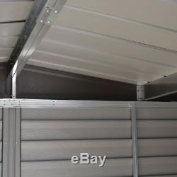 10ft x 12ft METAL APEX SHED OUTDOOR GARDEN STEEL STORE STORAGE SHEDS BROWN 10x12