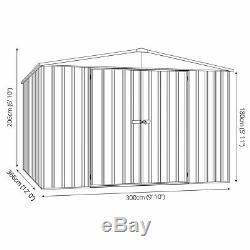 10x12 Absco Metal Garden Storage Shed Grey Titanium Double Door Apex 10ft 12ft