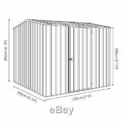 10x8 Absco Metal Garden Storage Shed Silver Easy Build Single Door Apex 10ft 8ft