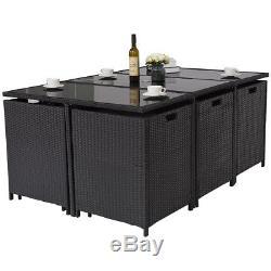 11 PCS Metal Rattan Wicker Furniture Garden Outdoor Patio Dining Set Cushioned