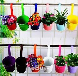 12 Metal Hanging Basket Flower Pot Garden Planter Balcony Home Decor hang Bucket