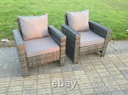 2 PC High Back Rattan Arm Chair Patio Outdoor Garden Furniture With Cushion