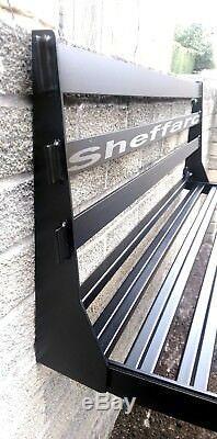 2 Seat Space Saving Wall Mounted Foldaway / Fold up Metal Garden Seat / Bench