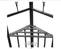2-Tier Patio Gazebo with Steel Frame Canopy 3m x 3m Garden Shelter Anthracite