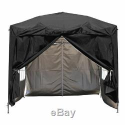 2x2m Outdoor Pop Up Gazebo Garden Marquee Party Tent Canopy 4 Side Panels Black