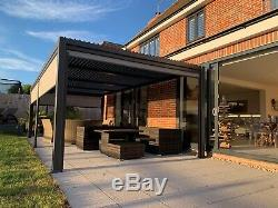 3.6 X 7.2m Vented Roof Solid Gazebo, Hot Tub Canopy, Permanent Garden Sunshade
