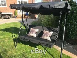 3 Seater Black Garden Swing Chair Seat Hammock Swinging Metal Fast Free Delivery