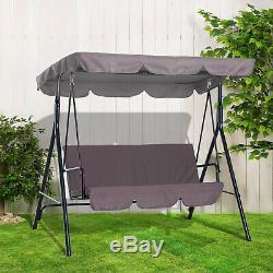 3 Seater Garden Swing Chair Seat Hammock Swinging Metal Terrace Canopy Bench
