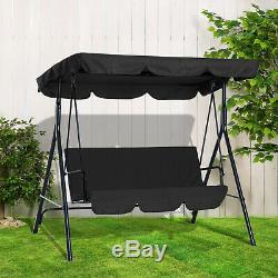 3 Seater Garden Swing Chair Seat Hammock Swinging Metal Terrace Canopy Bench New