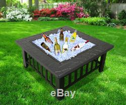 3 in 1 Fire Pit BBQ Brazier Square Stove Patio Heater Outdoor Garden Firepit