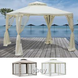 3 x 3 m Metal Gazebo Garden Outdoor 2-tier Roof Marquee Party Tent Grey/White