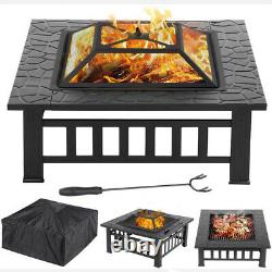 32'' Outdoor Garden BBQ Fire Pit Square Stove Patio Heater Large Firepit Brazier