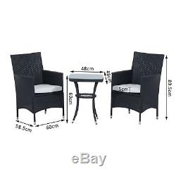 3PC Rattan Furniture Bistro Set Garden Table Chairs Patio Outdoor Wicker Black
