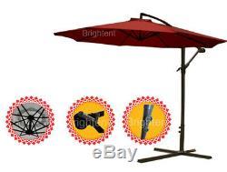 3m Patio Cantilever Hanging Parasol Garden Beach Banana Umbrella Canopy KU30R