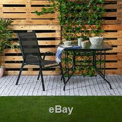 3pc Garden Furniture Set Glass Top Outdoor Patio Coffee Bistro Table Chair Black