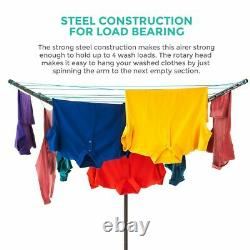 4 Arm Rotary Garden Washing Line Clothes Airer Dryer Outdoor Free Cover Spike