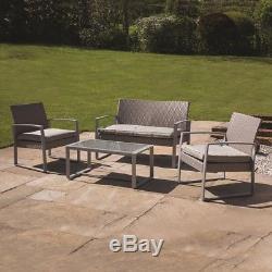 4 Piece Grey Garden Patio Rattan Chair/sofa Outdoor Furniture Conservatory