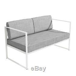 4 Piece White Metal Patio Garden Furniture Set with Table Como FTR030