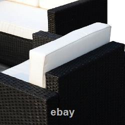 4 Pieces Rattan Sofa Set Chair Seat Furniture Patio Wicker Steel Black Garden