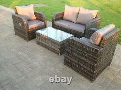 4 Seater Reclining Grey Mixed Rattan Sofa Chair Outdoor Garden Furniture Sets