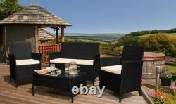 4PC Rattan Garden Patio Furniture Set Outdoor 2 Chairs 1 Sofa & Coffee Table