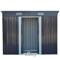 4X8ft Metal Garden Shed Outdoor Storage Bike Bicycle Store Sheds House FREE Base