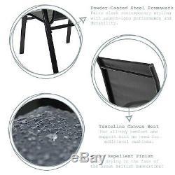 4x Texteline Canvas Garden Chair Outdoor Patio Coffee Bistro Furniture Black