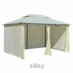 4x3m Garden Marquee with Curtains Garden Gazebo Fabric Steel Frame UV-resistant