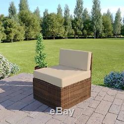5 Piece Brown Corner Modular Rattan Weave Garden Furniture Set FREE COVER