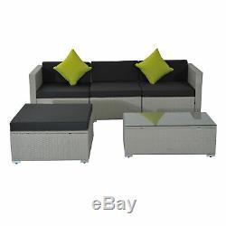 5 Pieces Rattan Sofa Set Wicker Sectional Furniture Cushion Grey Garden