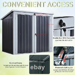 5ft x 3ft Garden 2-Bin Corrugated Steel Rubbish Storage Shed withLocking Doors Lid