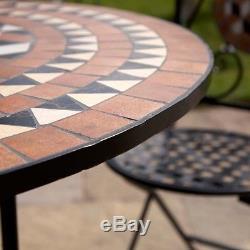 5pc 4 Seater Outdoor Patio Bistro Set Mosaic Design Garden Folding Table & Chair