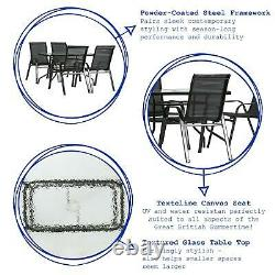 5pc Garden Furniture Set Glass Top Outdoor Bistro Table Chair 120x70cm Black