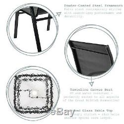 5pc Garden Furniture Set Glass Top Outdoor Patio Coffee Bistro Table Chair Black