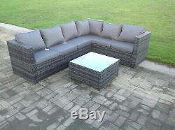 6 seater grey rattan corner sofa set table outdoor garden furniture