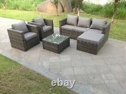 6 seater rattan sofa set ottoman outdoor garden furniture patio grey