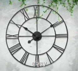 60cm Big Roman Numerals Giant Open Face Metal Large Outdoor Garden Wall Clock Ne