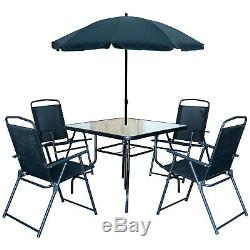 6pc Garden Furniture Set Square Glass Table & 4 Folding Chairs & Tilting Parasol