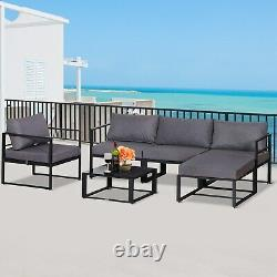 6pcs Garden Sectional Sofa Set Aluminum Frame Coffee Table Footstool with Cushions
