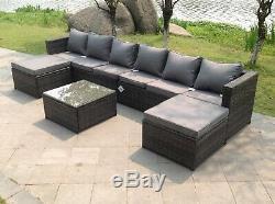 8 seater lounge rattan corner sofa set coffee table outdoor garden furniture