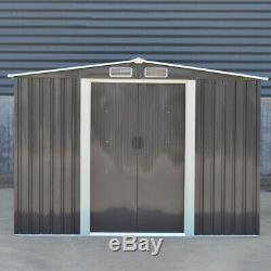 8 x 8ft Heavy Duty Garden Shed Apex Roof Metal Galvanized Steel House Dark Grey