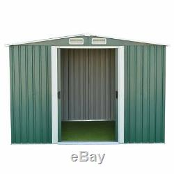 8X6FT Metal Garden Shed Storage House Apex Roof Sliding Door with Free Base B