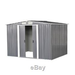 8x6FT Metal Garden Shed Storage 2 Door Apex Roof Free Base Foundation Outdoor UK
