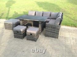 9 Seater Rattan Corner Sofa Set Outdoor Garden Furniture Dining Table Footstool