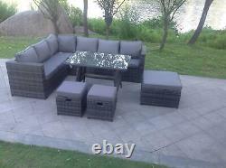 9 Seater Rattan Garden Furniture Set Corner Sofa Dining Table Stool Grey