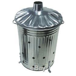 90 Litre Incinerator Galvanised Metal Garden Waste Rubbish Wood Fire Bin Burner