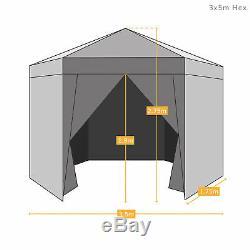 Airwave 3.5m Hexagonal Garden Pop Up Gazebo with Carry Bag Waterproof Marquee
