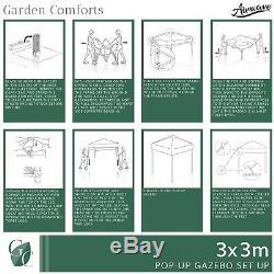 Airwave 3x3m Waterproof Garden Pop Up Gazebo, Bag & Sand Bags