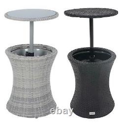 Azuma Ibiza Drinks Cooler Garden Table With Glass Table Top Black Rattan Effect