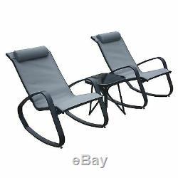 Azuma Outdoor SECONDS Garden Bistro Set Madrid Black Rocking Chairs Patio Table